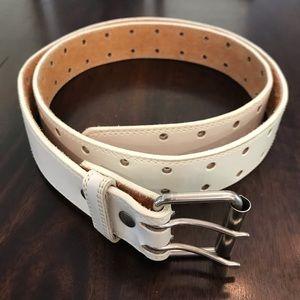 White Unisex Genuine Leather Belt
